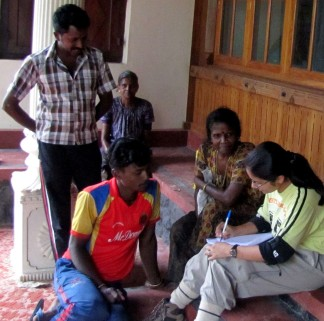 Interviewing local people about their perceptions towards fruit bats (Photo by Nachiket Kelkar)